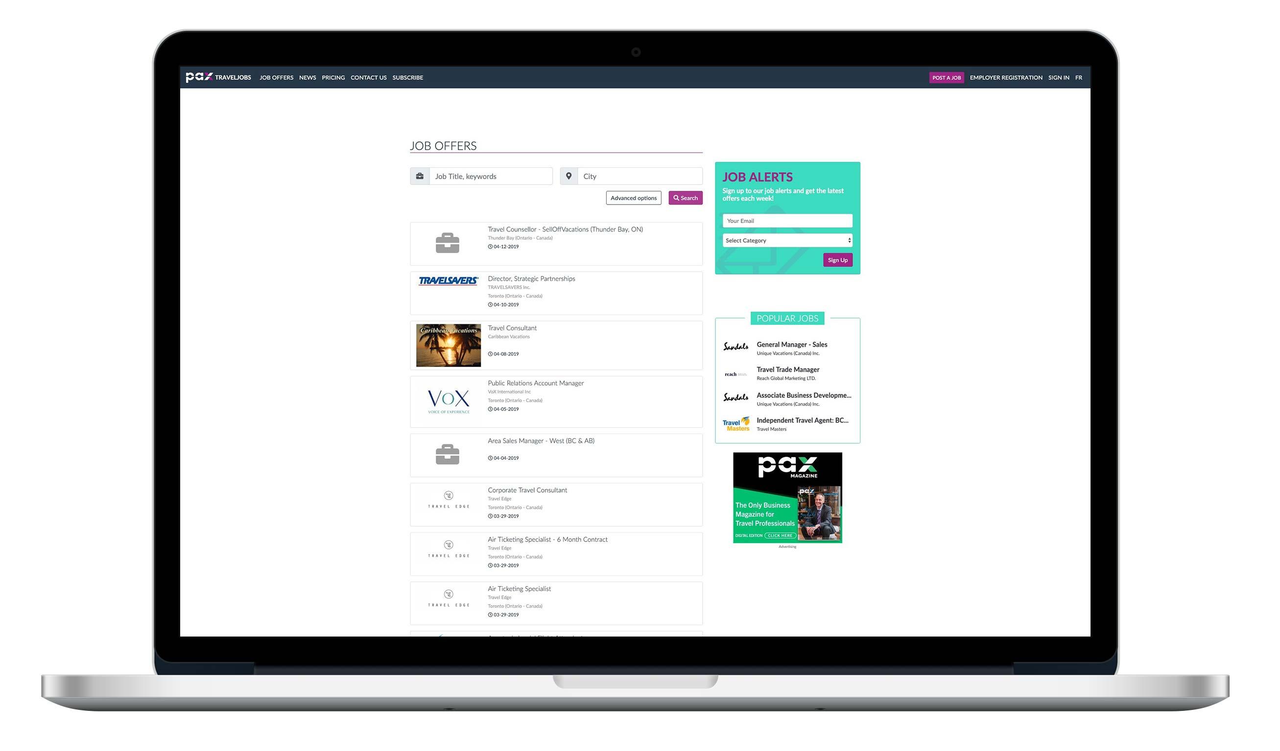 Web site interface of QuickPresse.com