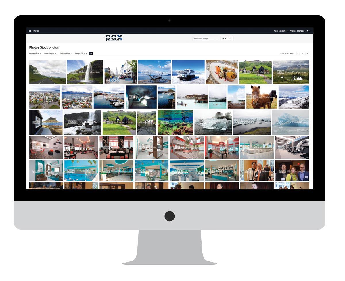 Web site interface of PAXStockPhoto.com
