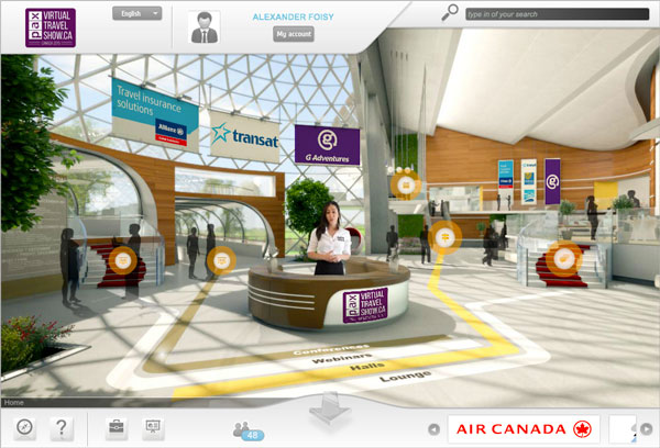 The lobby of the PAX Virtual Travel Show with our virtual host Wazna.